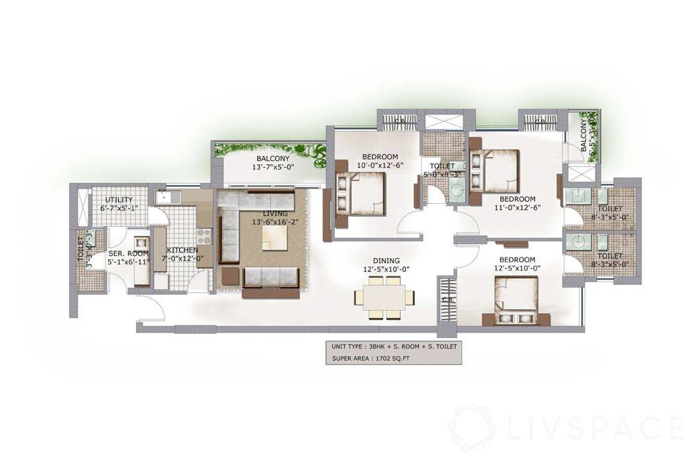 3bhk-flat-design-floor plan