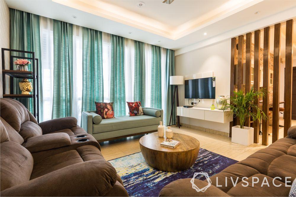 3bhk-flat-design-living room-tv unit-curtains
