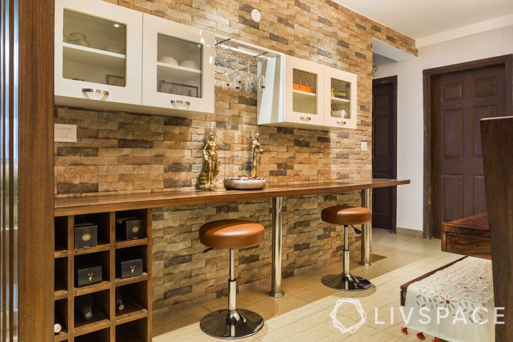 3bhk-flat-design-bar unit-wooden ledge-bar stools-wine cellar
