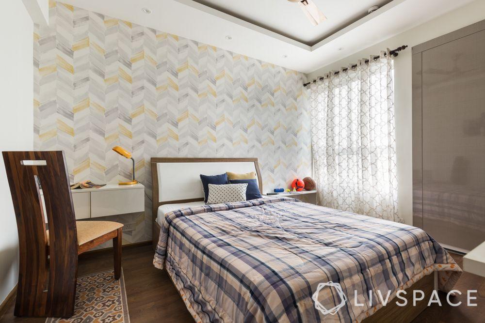 3bhk-flat-design-study room-wallpaper-laminate wardrobes
