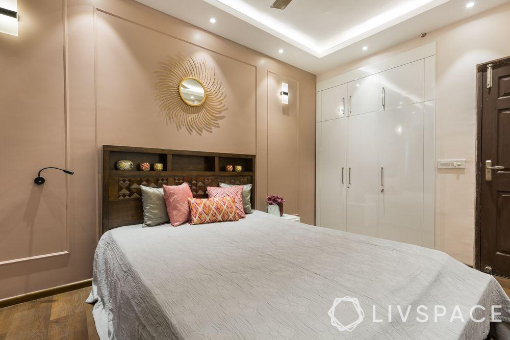 3bhk-flat-design-master bedroom-modular wardrobes-false ceiling
