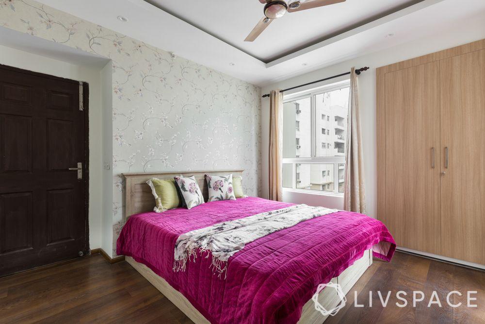 3bhk-flat-design-guest bedroom-laminate wardrobes-false ceiling