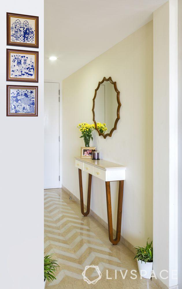 chevron flooring-ink paintings-foyer decor