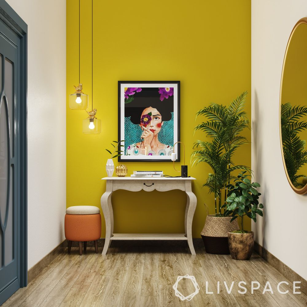 yellow wall paint-frida kahlo painting-white console