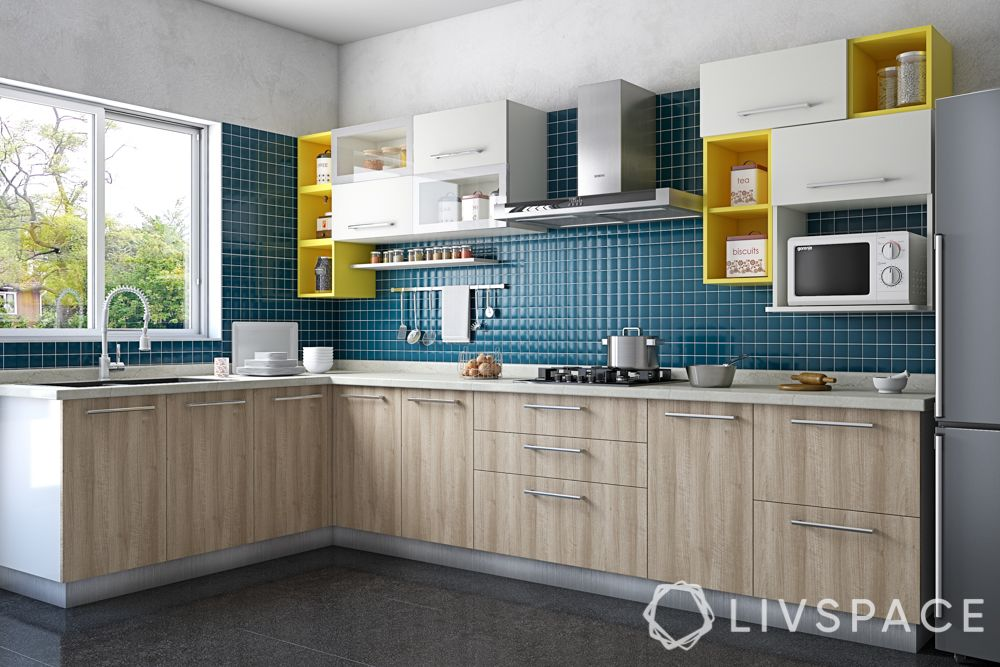 small indian kitchen design in l shape-wooden laminate-white and yellow wall cabinets