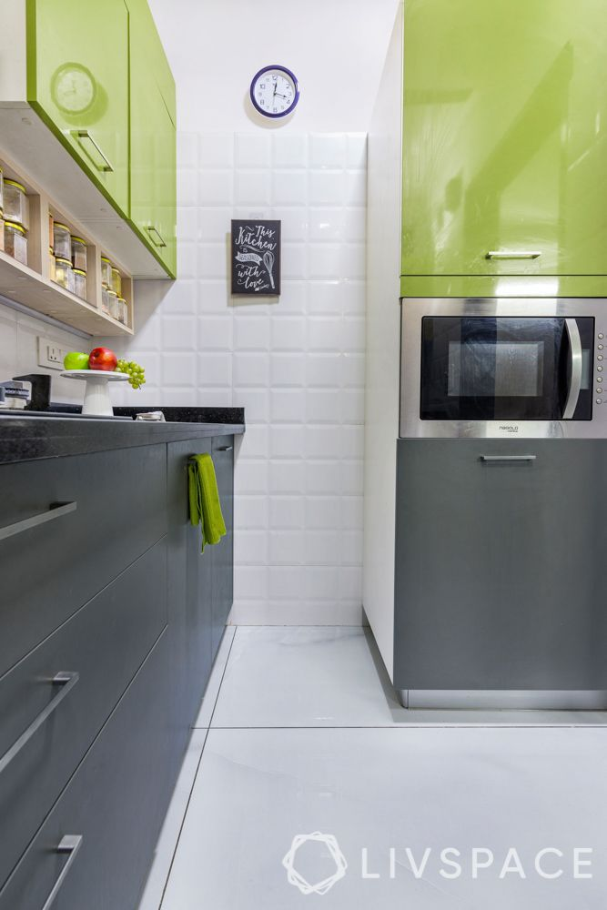 kitchen-remodel-olive-green-microwave-grey-cabinets