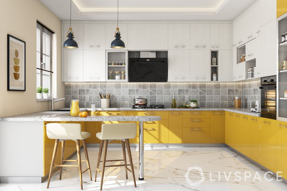 semi open kitchen-pros-yellow kitchen-breakfast counter