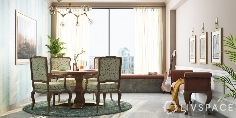 celebrity homes in india-floral prints-green dining chair