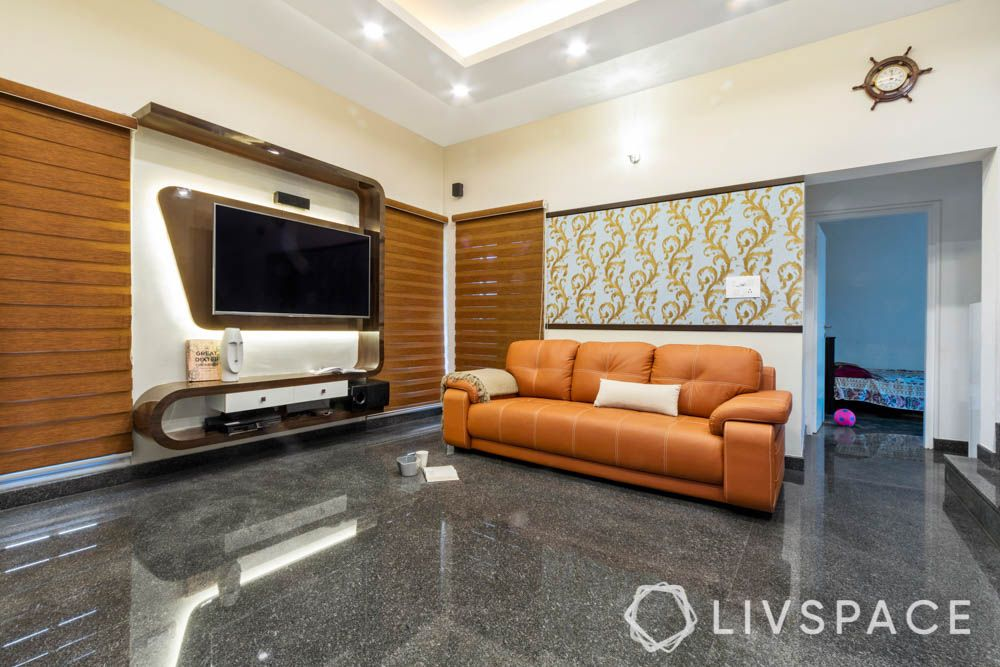villa design-living room-tv unit-wallpaper-orange sofa