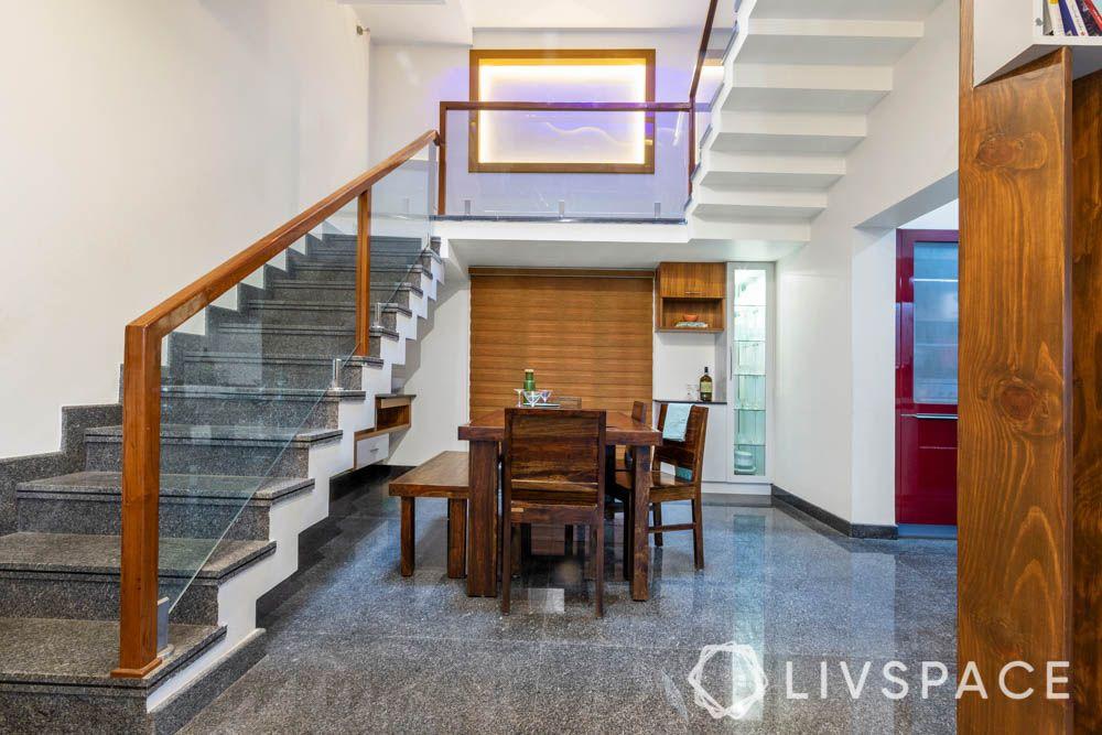 villa design-dining room-wood dining table-crockery unit-sink