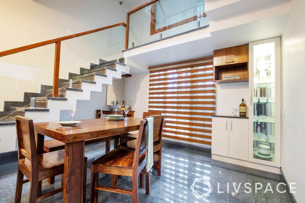 villa design-Dining room-dining room-wood dining table-crockery unit-sink