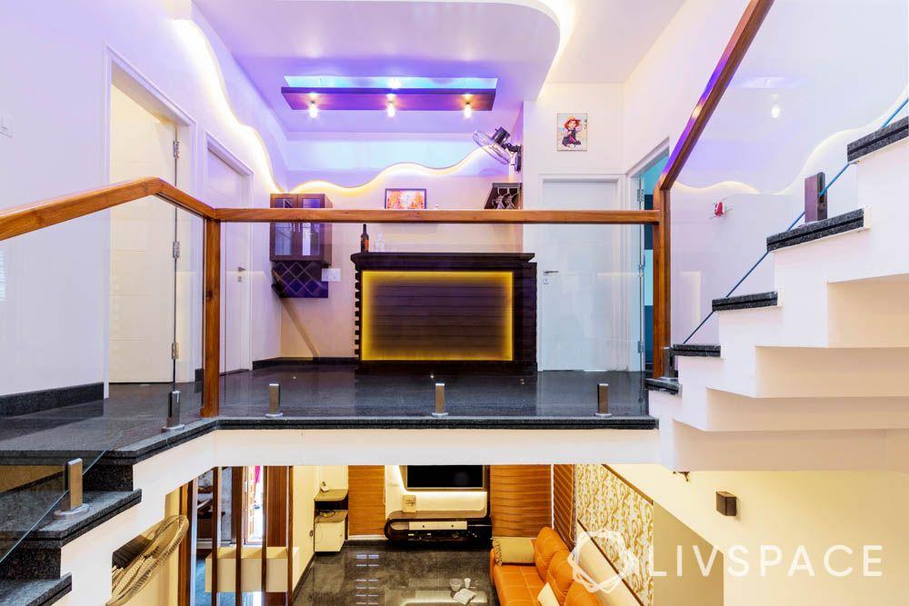 villa design-bar unit-drip false ceiling design-lighting