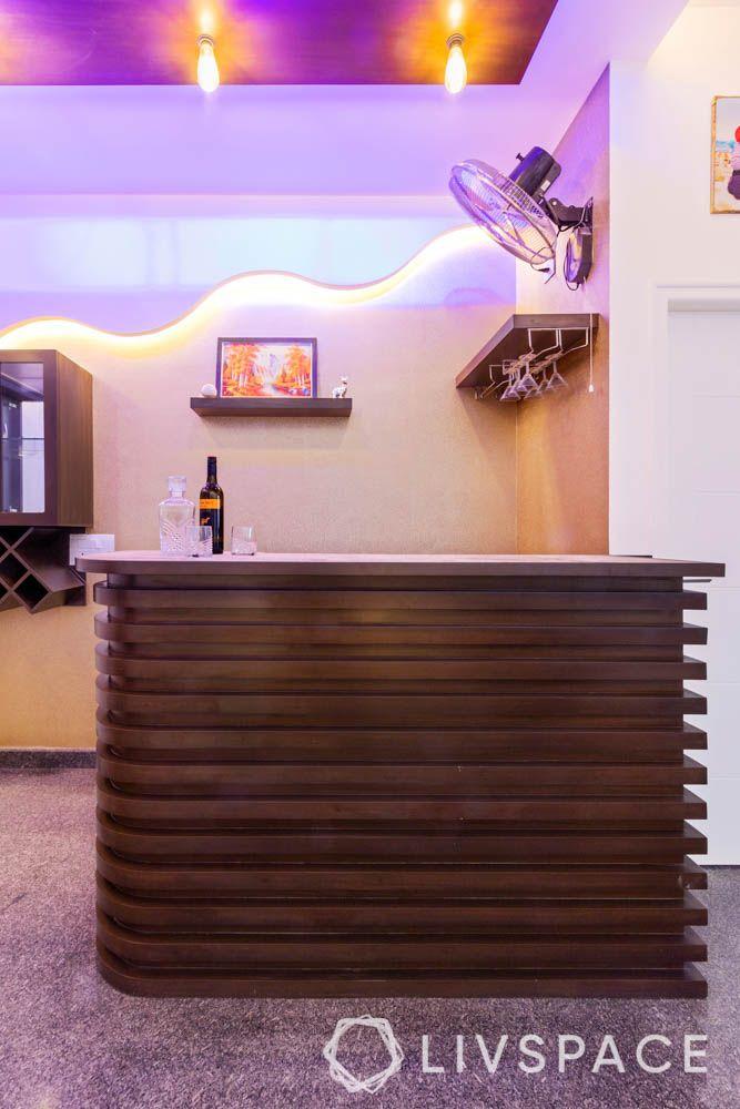villa design-bar unit-blue light-bar unit-false ceiling