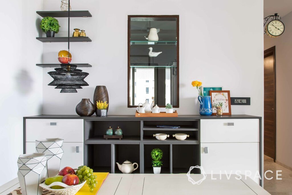 Crockery unit designs-display shelves-open shelves