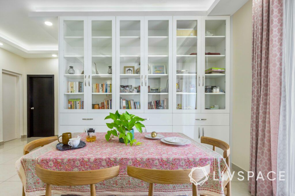 Crockery unit designs-bookshelf-dining room