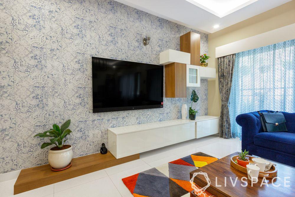 Wallpaper-tv unit-laminate finish