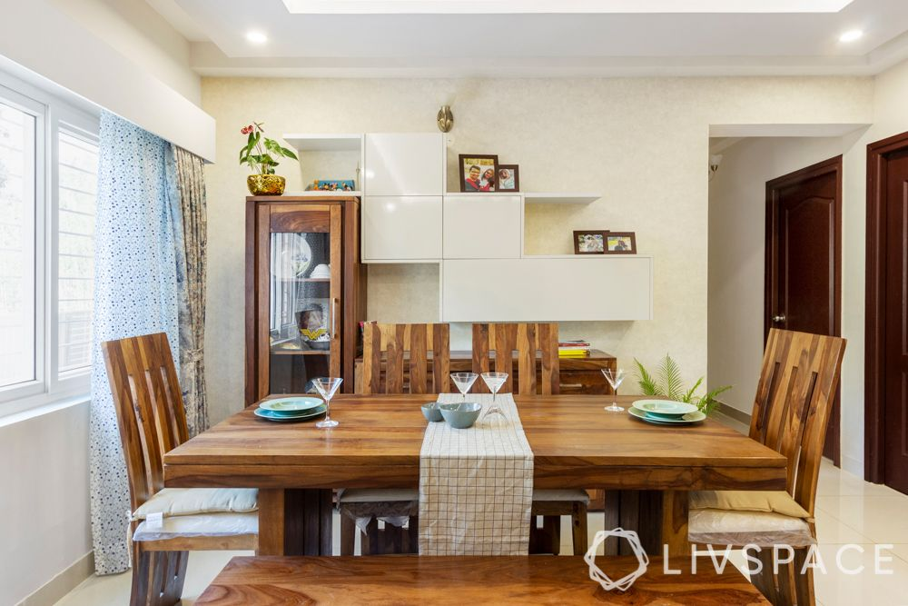Dining table-wooden furniture-crockery unit-floating shelves
