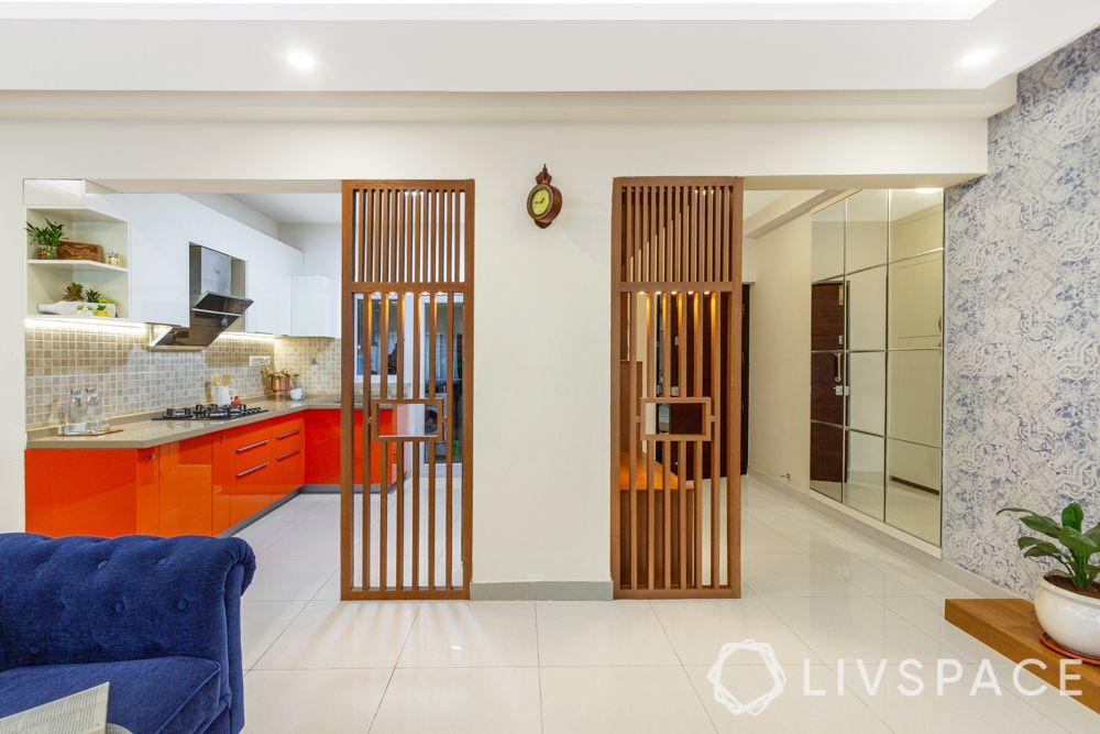 3 bhk home design-jaali-foyer-kitchen