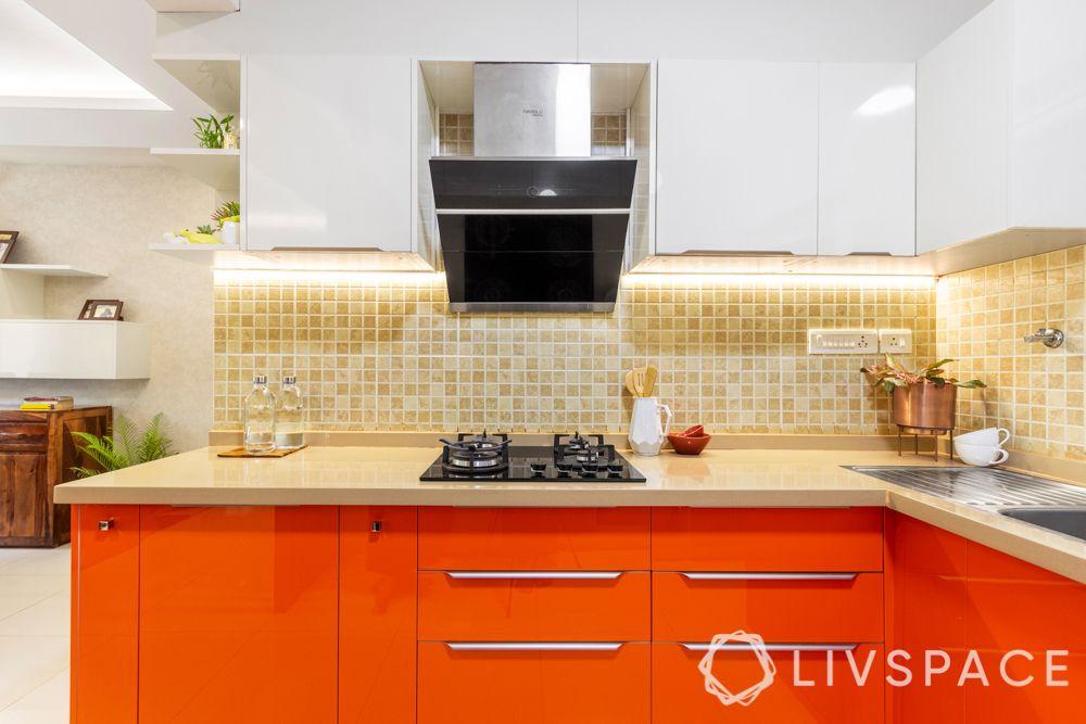Orange membrane kitchen-edge profiles-hob-chimney