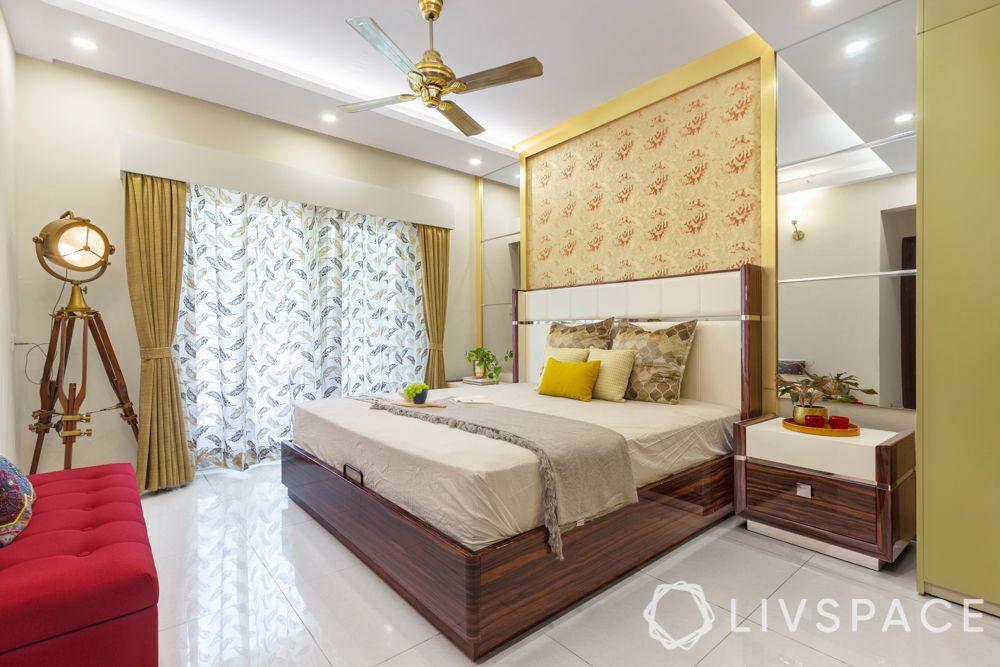 Master bedroom-accent wallpaper-mirror-wooden bed