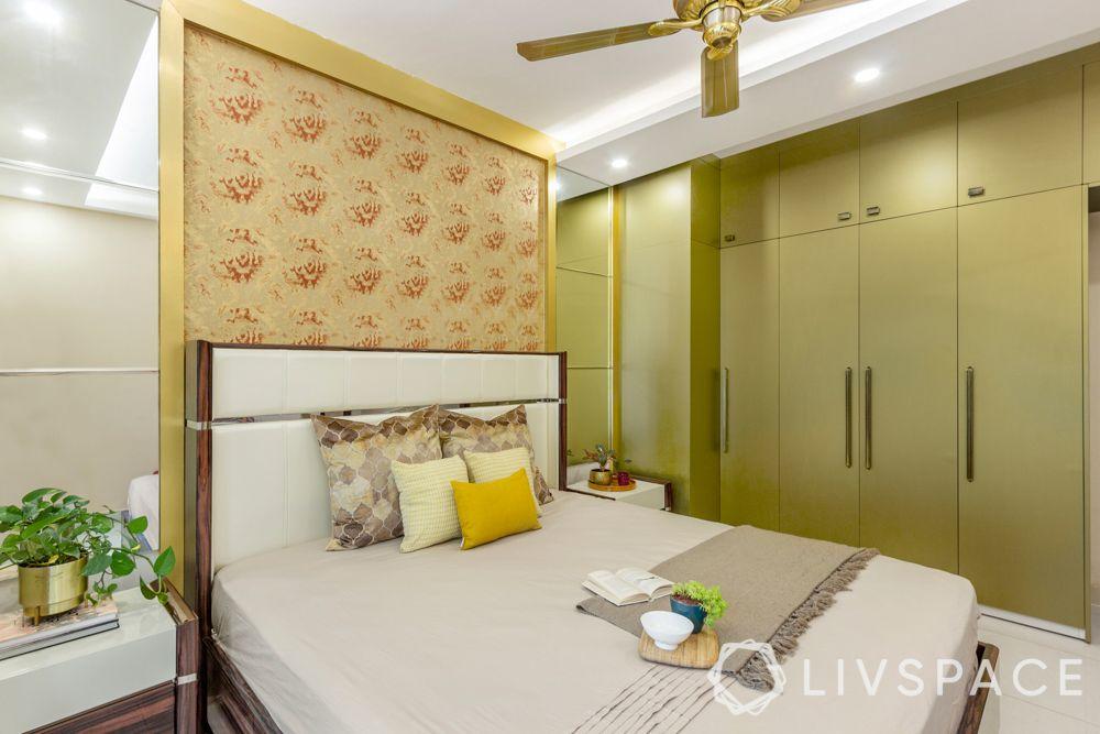 Master bedroom-accent wallpaper-golden membrane wardrobe-mirror panel