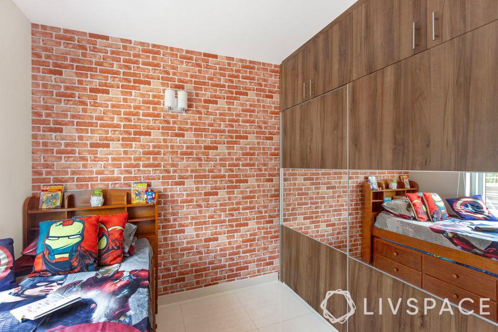 3 bhk home design-exposed brick wallpaper-wooden wardrobe-mirror panel
