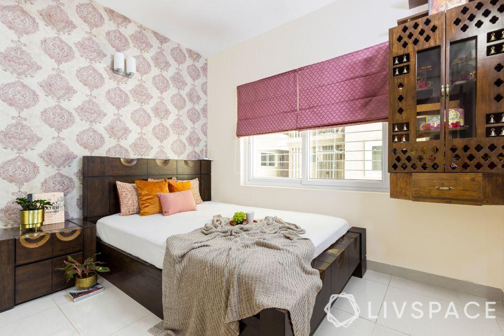 mother  bedroom-wooden bed-pooja unit