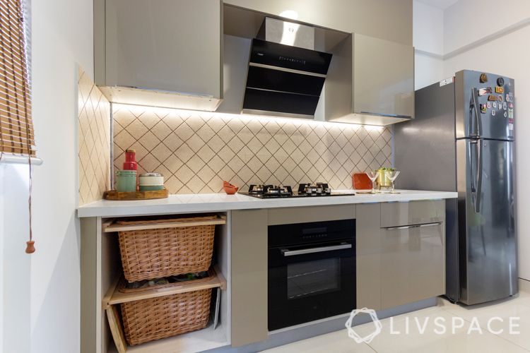 kitchen racks and storage-wicker basket-backsplash lighting-hob and chimney designs