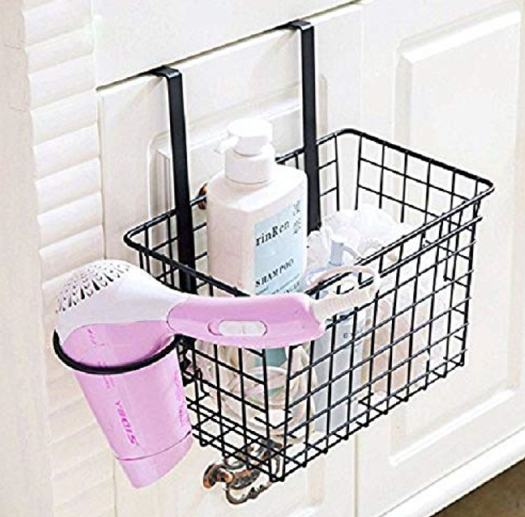bathroom-accessories-amazon-basket-with-hair-dryer-holder