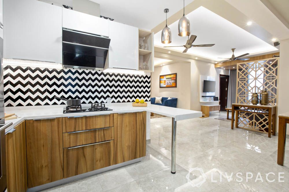 Chevron pattern-kitchen backsplash-tiles