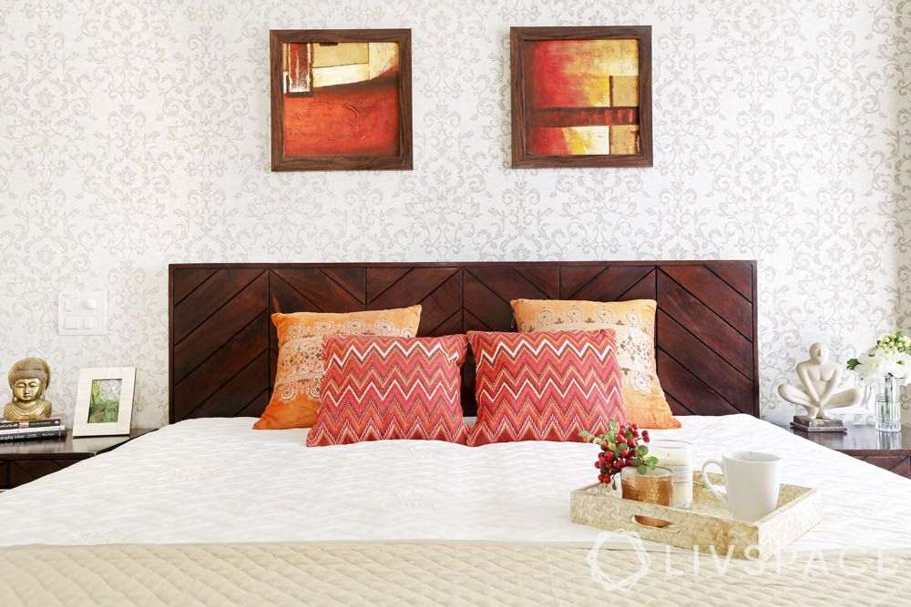 Chevron pattern-master bedroom-wooden headboard