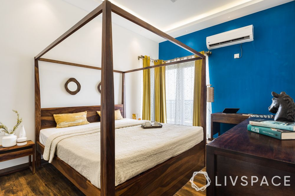asian paints colour of the year-blue wall-four poster bed