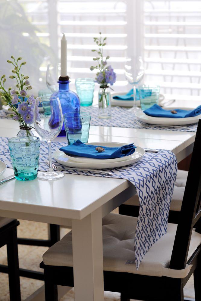 blue table runner-blue kercheif