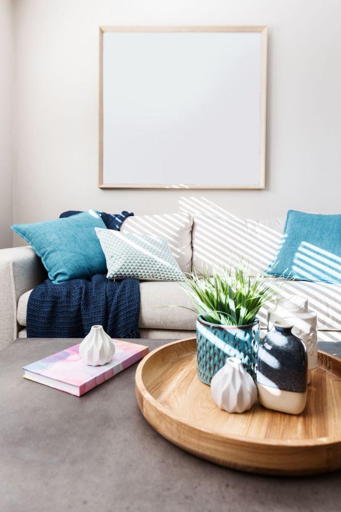 blue cushions-white sofa designs