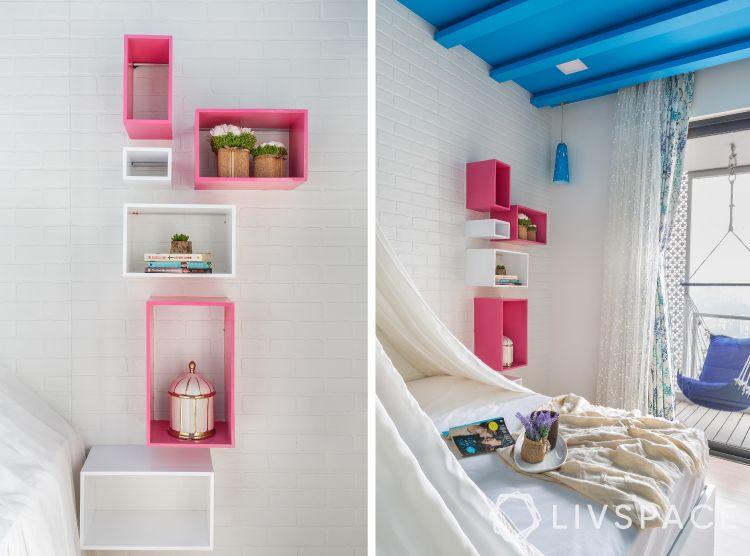 vertical shelf arrangement-pink shelves