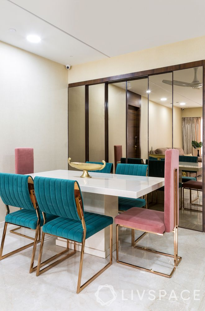 3bhk-flats-dining-room-velvet-chairs-apurva-shah