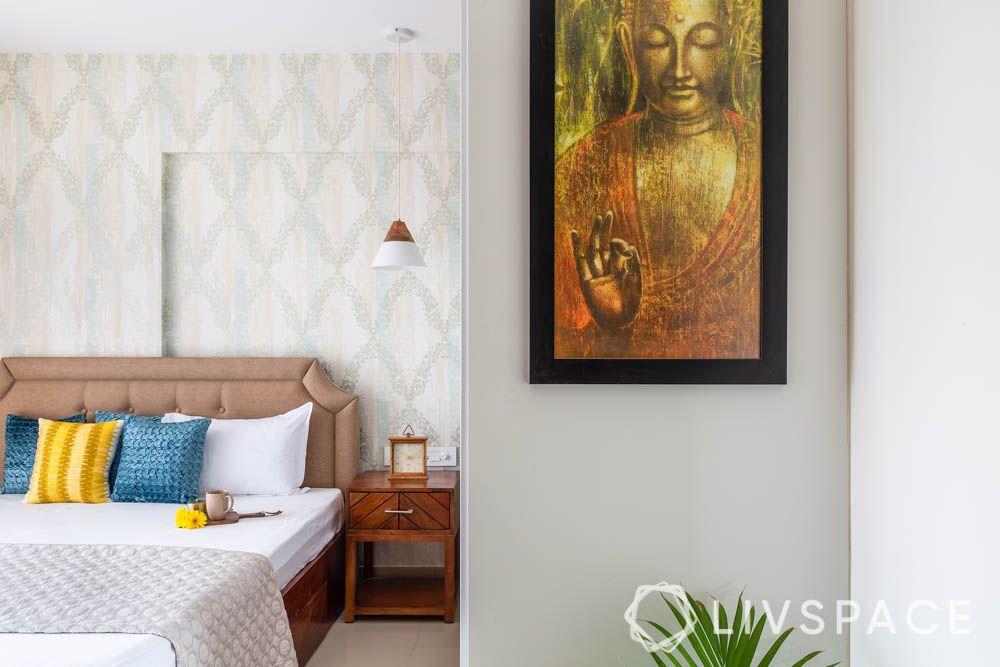 3 bhk in pune-grey wallpaper-buddha art