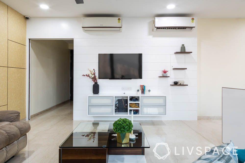 3bhk-house-design-pu-finish-tv-unit-wall-shelves