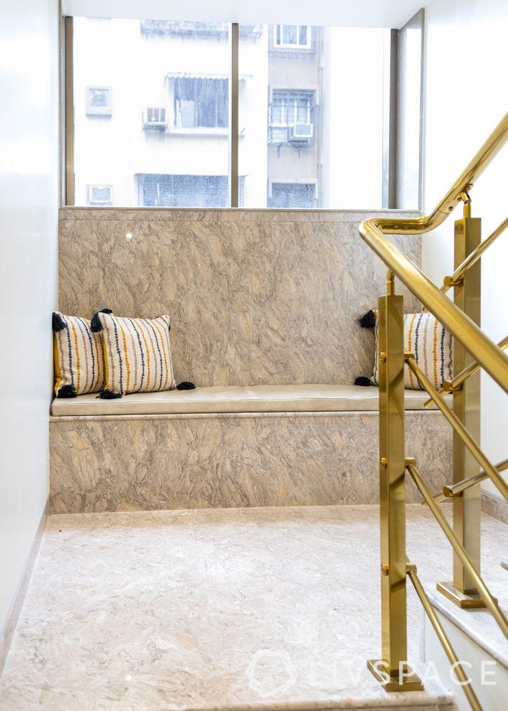 modern villa design-bathroom design-seating-staircase-cushions