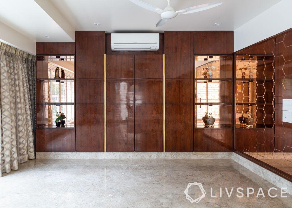 modern villa design-rose gold hexagonal mirrors-wooden storage