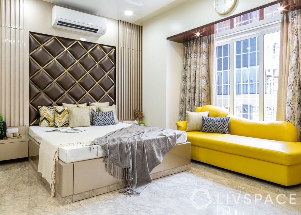 modern villa design-master bedroom-yellow sofa-upholstered headboard-pu wardrobes-mirror design