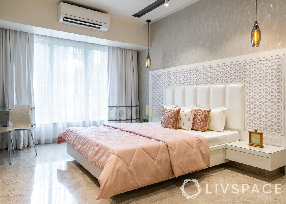 modern villa design-daughters bedroom-white headboard-pendant lights-jaali designs