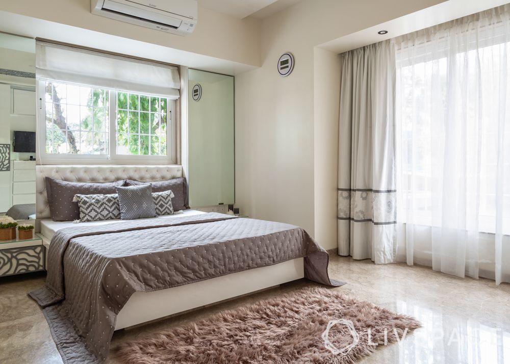 modern villa design-daughters bedroom-grey themed bedroom-rose jaali design-sliding wardrobe