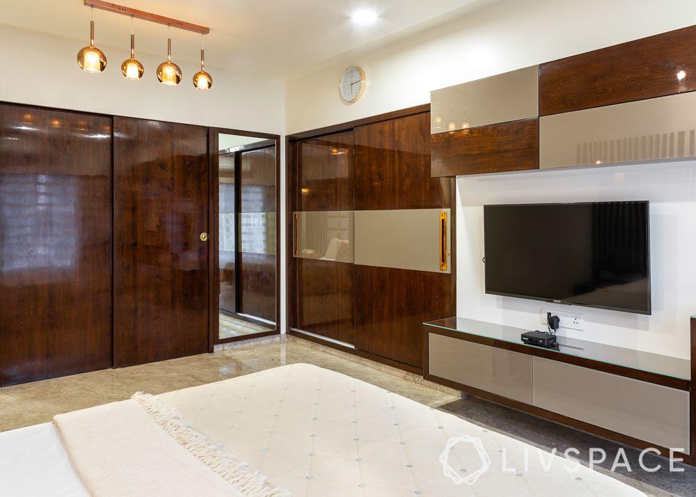 modern villa design-sons bedroom-wooden strips-wall mounted lights