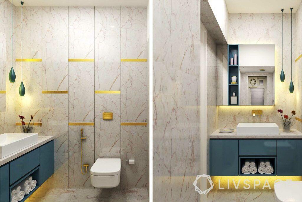 modern villa design-bathroom design-green and pink marble designs-wall sconces