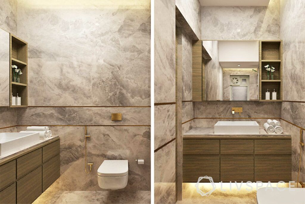 modern villa design-bathroom design-italian marble designs-sink and cabinet