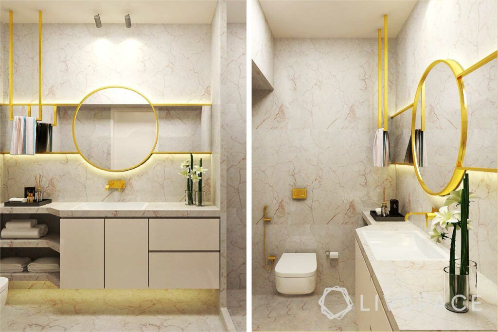 modern villa design-bathroom design-gold mirror-italian marble bathroom-bathroom designs