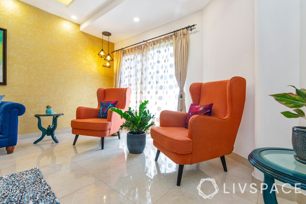 Corner decoration-pendant lights-orange chair