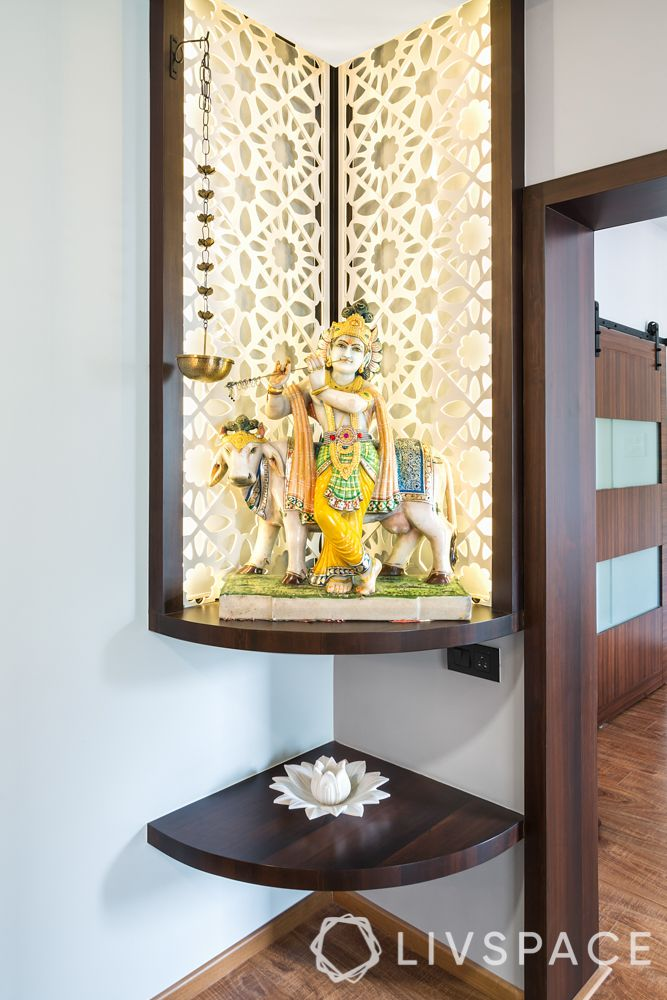 Corner decoration-pooja unit-white jaali