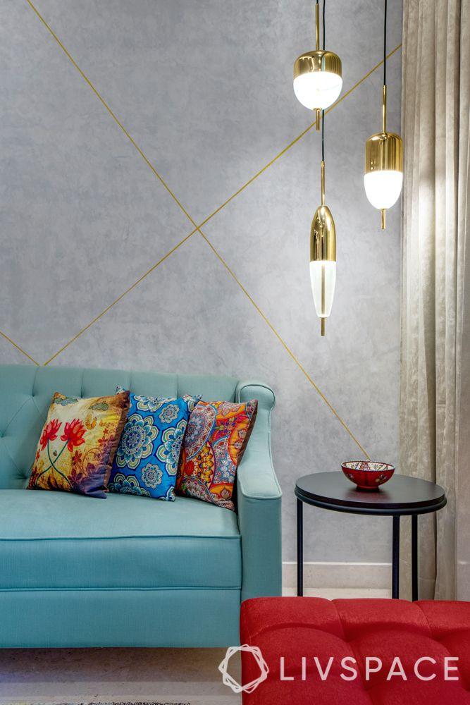 Living room corner-pendant lights-corner table